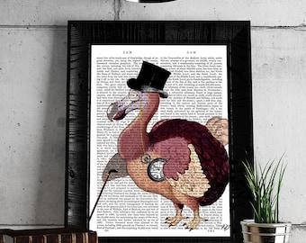 Dodo bird Alice in wonderland decor alice in wonderland book prints - Dapper Dodo - dodo print dodo bird print dodo bird art Mad hatter art