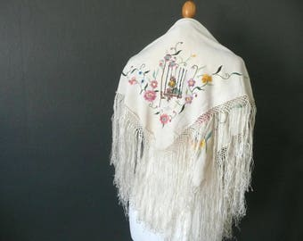 Antique piano shawl - 1920s embroidered silk shawl - vintage Chinese silk shawl - hand knotted tassel embroidered silk shawl