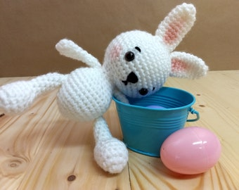 Amigurumi white bunny, crocheted, ready to ship