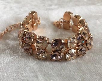 Double strand swarovski crystal bracelet- champagne crystals- rose gold plating-8mm- bracelet cuff