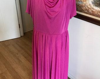 Plus size hot pink cowl neck vintage 80s dress retro