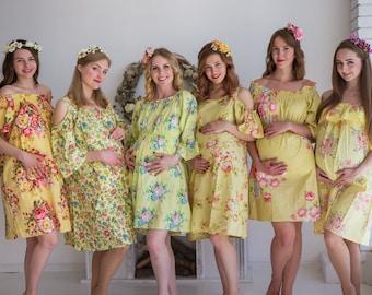 Light Yellow Floral Maternity Shift Dress, Maternity Summer Dress, Maternity Workwear, Pregnancy Dress, Tunic, Sundress, Baby Shower Gift
