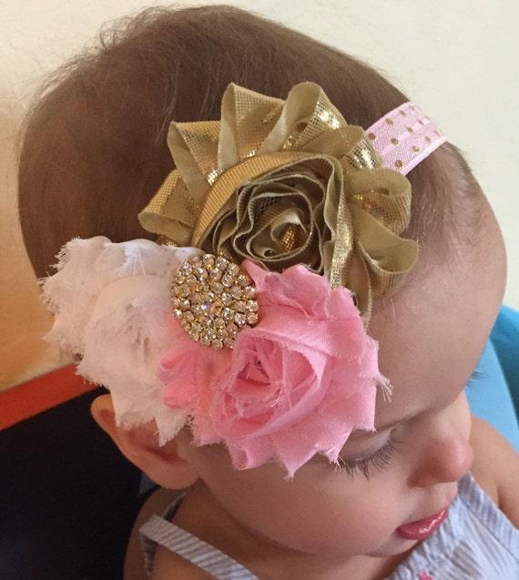 Pink And Gold Headband..Birthday Headband.Pink And Gold Baby