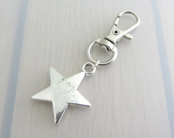 Solid Star Bag Charm, Space Purse Clip, Silver Star Handbag Charm, Celestial Charm Zipper Pull, Space Gift, Night Sky Gift