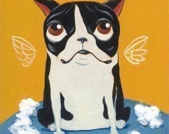 Boston terreir gift, boston terrier art print, dog art, Boston Terrier Destuffing a Toy, boston terreir wall decor
