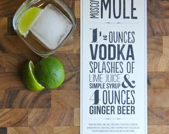 Moscow Mule Recipe Typographic Design for Print