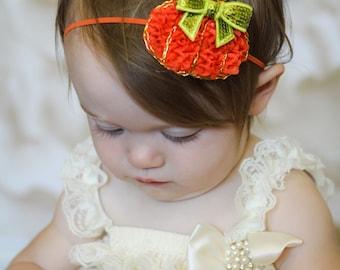 Pumpkin Headband, Fall Headband, Orange Pumpkin Baby Headband, Baby Headband, Infant Headband, Newborn Headband, Fall Headband