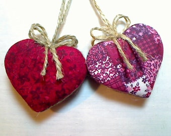 Cranberry Red Heart Ornaments | Party Favors | Holidays | Wedding Bridal | Tree Ornament | Valentines Day | Handmade | Set/2 |  #2