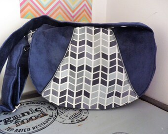 Dark blue Faux suede crossbody bag - Hand made