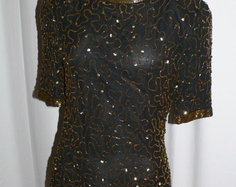 Vintage 1980's Stenay Silk Blouse with Amber and Gold Sequins and Beading