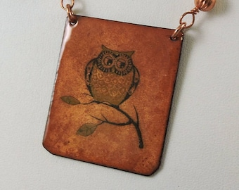 Owl Necklace, Enameled Copper Necklace, Copper Necklace, Owl Jewelry, Owl Necklace, Nature Jewelry