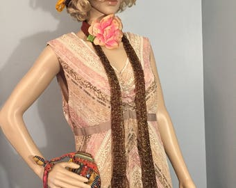 Flapper Gatsby Roaring 20s  5-pc Complete Costume Downton Abbey Size Medium.  FREE US Shipping!
