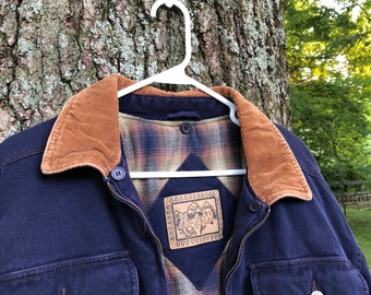 Vintage/Retro Blue Barn Jacket with Tan Corduroy and Flannel Accents (L)