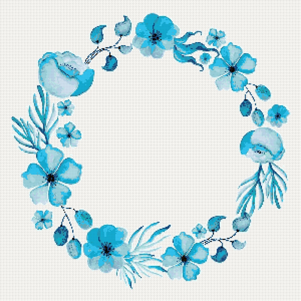 Blue floral watercolour cross stitch pattern blue flower wreath this is a digital file izmirmasajfo Gallery