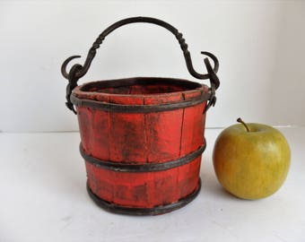 Vintage Small Wooden Farm Bucket. Wooden Berry Bucket