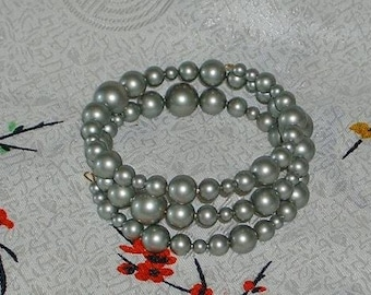 POWDER GREEN  Swarovski Crystal Pearls - Memory Wire Wrap Bracelet