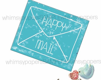 """Happy Mail stickers - set of 50 Turquoise 2 X 1.75"""""""