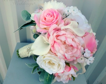 Garden bouquet - Wedding bouquet, Peony rose bridal bouquet