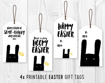 Happy easter printable card with bunny minimalist happy printable easter bunny gift tags easter kids party favor tags diy easter tags negle Choice Image