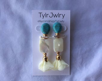 Turquoise + Freshwater Pearl + Mother of Pearl + Pom Pom Earrings