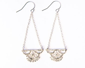Lily lace earrings chandelier in sterling silver, boho wedding earrings, vintage lace earring