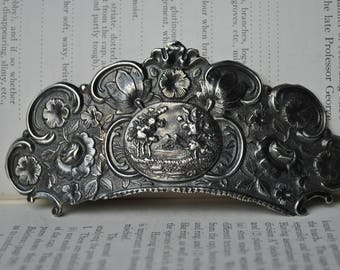 Antique Sterling Brooch - 1900s Edwardian Brooch, Antique Conversion Piece, Hair Comb Brooch, One of a Kind., Free Shipping