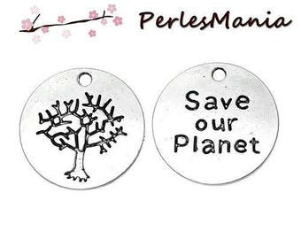 4 SAVE OUR PLANET (S1163683) ANTIQUE silver metal charms pendants
