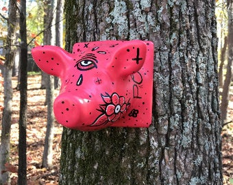 Tattooed Pig Faux Taxidermy Head by Manic Lawd - Ceramic Pig Head - Low Brow Art - Old School Tattoo Art