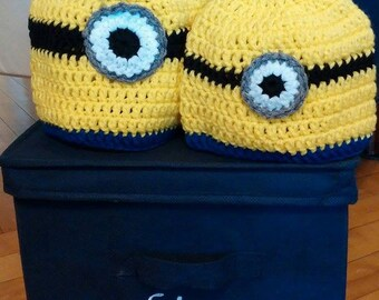 Minion Inspired Crochet Beanie, Minion Hat, Minions, Photo Prop, Baby Shower Gift, M