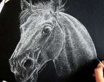 Handmade pointillism horse drawing made with dots on black paper