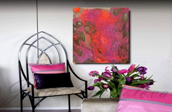 Pink Abstract Canvas Art: 40inch Abstract Canvas Art Pink And Gold Print Large Wall