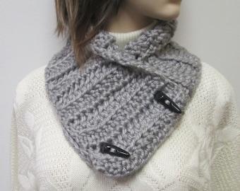 Gray Chunky Scarf, Winter Womans Scarves, Gray Knit Scarf, Fall Scarf, Fall Crochet Scarves, Warm Winter Scarf, Fabiana B1-002