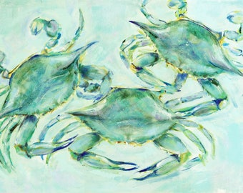 Threes a Charm Chesapeake : Fine art giclee crab print color-edited from original acrylic painting of three Blue Crabs