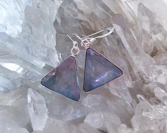 Tanzanite / Lavender  Aura Vogel - Star of David Earrings- set in Sterling Silver - A Grade !  Powerful