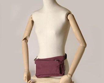 Frankfurt fanny pack, mini bag. Dual purpose. Two departments. Lilac fabric