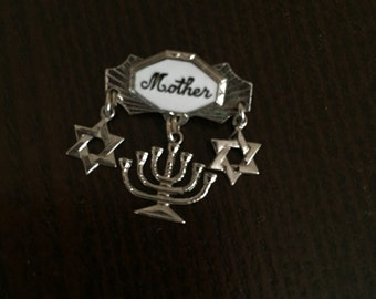 Vintage Mother pin with Menorah and Star of David