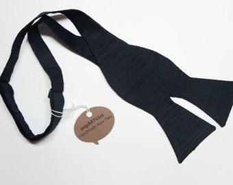 Freestyle Navy Silk Bow Tie - Blue Bow Tie - Navy Bow Tie - Self-Tie Bow Tie - Navy Silk Shantung Bow Tie