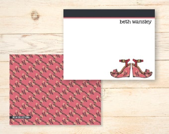 Personalized notecards - FLORAL WEDGE SANDLES - Pink Floral - signature monogram personalized notecards