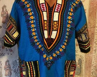 Blue background with colorful print dashiki shirt