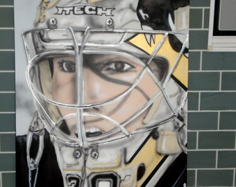 "A Marc-Andre Fleury painting 48""x 24"" x1.5"" canvas"