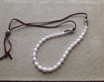 Pearl and  Leather, Mother's Day Gift,  Adjustable Necklace,  Hills Tribe Sterling Silver
