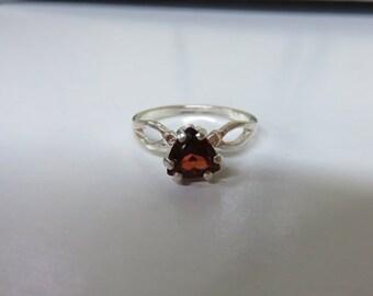 Garnet Ring - Natural Trillion Rhodolite Garnet & Sterling Silver Ring - Ladies Ring Size 7