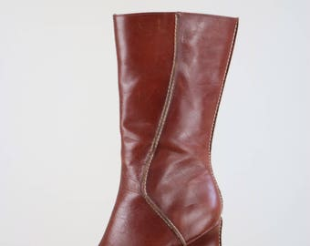 "1990s Brown Leather Boots - Cognac Brown - Wedge Heel - Steve Madden - Pointy Toe High Heel Boots - Mid Calf 3.5"" Wedge Heel Size 7.5"