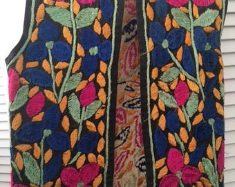 Bohemian Vest Embroidered 70's