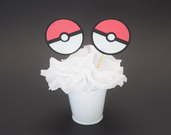 Pokemon Cupcake Topper, Pokemon Decoration, Pokemon Party, Pokemon Topper, Pokemon Go Party