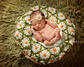 Daisy Blanket and headband , newborn set, newborn daisy set