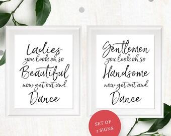 Wedding Bathroom Sign-Printable Calligraphy Ladies & Gentlemen Restroom Sign-Stylish Hand Lettered DIY Handwritten Beautiful and Handsome