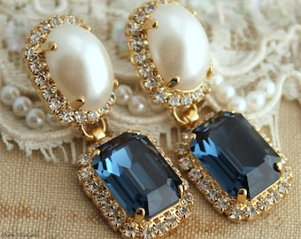 Blue navy chandelier earrings blue navy swarovski earrings blue navy earrings bridal navy blue earrings navy blue chandelier earrings swarovski crystal dark blue earrings pearl blue earrings aloadofball Image collections