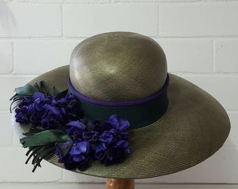 Vintage 60s 70's Moss Green Fine Straw Wide Brim with Velvet Violets 40s style