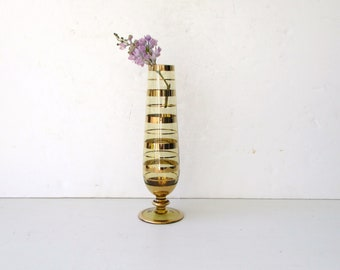 Mid Century Art Glass - Gold Banded Vase - Amber Brown Glass with Metallic Gold Banding - Made in Romania - Bud Vase - Borske Sklo Glasswork